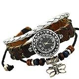 Huoduoduo Armband, Mode-Uhr Retro-Tisch Leder Persönlichkeit Mode-Trend Männer Armband