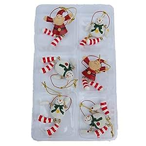 Set of 6 Mini Christmas Tree Decorations - Santa and Snowmen Design