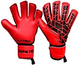 Kobo 2324-Alpha-HD Latex Soccer Goal Keeper Gloves, 8.5-inch (Red)