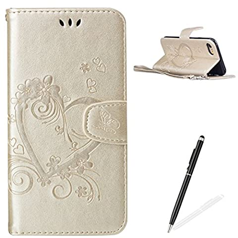 Feeltech Apple iPhone 7 4.7 Inch Flip case, Luxury Embossed Heart Butterfly Series Design Pattern Premium Ultra Slim PU Leather Wallet Cover [With Free Stylus Pen] Magnetic Clasp Closure Soft TPU Inner Bumper Built-in Foldable Stand Function Pocket Card Slots ID Holder Protective Case Folio Book Style With Wrist Strap for Apple iPhone 7 4.7 Inch -Gold