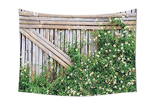 daawqee Farm House Bamboo Fence Covered by Ivy Daisy Flower Blooms Chamomile Petals Picture Wall Hanging for Bedroom Living Room Dorm Green Brown Unique Home Decor