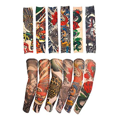 6 Stück gefälschte temporäre Tattoo Ärmel Körper Kunst Sonnenschutz Strümpfe Zubehör in der Camouflage-Farben -