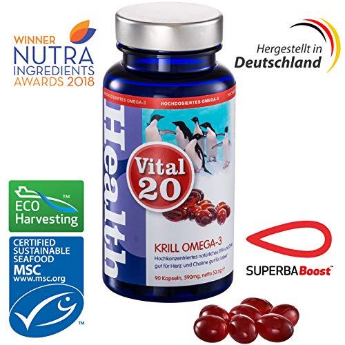 Krill Öl Omega 3 von Vital20 | Superba Boost | Extra hohe EPA & DHA Konzentration | 90 * 590mg Softgel Kapseln | Hergestellt in Deutschland | Gut für Herz und Leber (Health Claim) | MSC zertifiziert (Herz-gesundheit Krill öl)