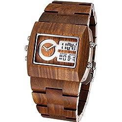 Herren-Armbanduhr, stylisch, handgefertigt, Holz-Uhren mit 100 % natürlichem Sandelholz