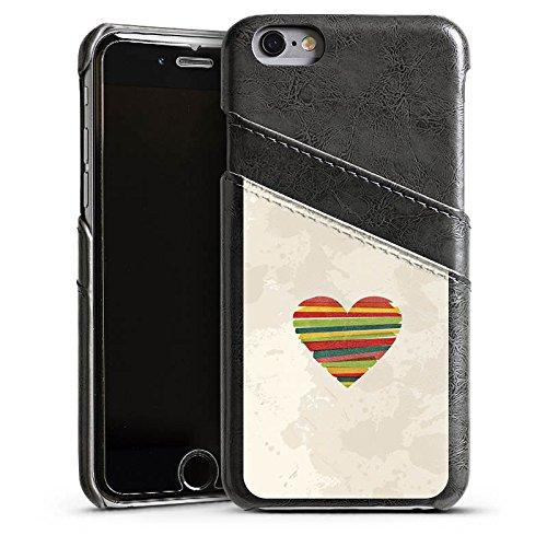 Apple iPhone 5 Housse étui coque protection Amour Amour C½ur Étui en cuir gris