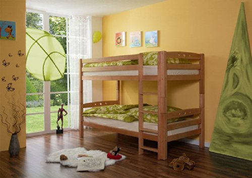 Pharao24 Etagenhochbett Kinderbett Buche Massiv 90 x 200 TINO - Kinder-möbel-etagenbetten