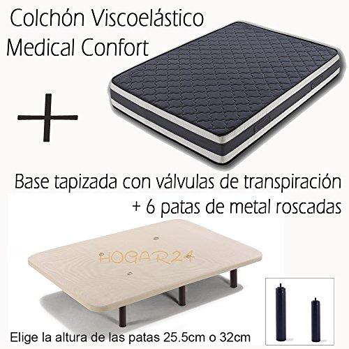 BASE-TAPIZADA-CON-VLVULAS-DE-TRANSPIRACIN-Y-6-PATAS-DE-METAL-ROSCADAS-DE-26CM-COLCHN-VISCOELSTICO-DOBLE-CARA-MEDICAL-CONFORT