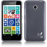 JAMMYLIZARD | Back Cover Hülle für Nokia Lumia 630 Schutzhülle aus Silikon in Gebürstetes Aluminium Optik, SCHWARZ