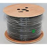 Câble Sourcing - Pro-RG59 2, 100m (328 ft.), 100% en CUIVRE MASSIF NOYAU COAXIAL & ALIMENTATION ÉLECTRIQUE, 100% Fleuret & Tressage de couverture, haute puissance vidéo préformation fusil câble coaxial, 75 ohms, tambour en bois, CCTV, câble de sécurité, EXTERNE & INTERNE usage, NOIR