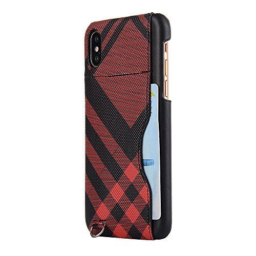iPhone X Hülle, Valenth [Anti-Drop] Slim Full Schutzhülle Hülle mit Card Slot für iPhone X Rot
