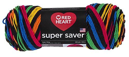 Red Heart Super Saver Garn, Almandine Streifen Stripe - Primary (Crochet Knit Cardigan)