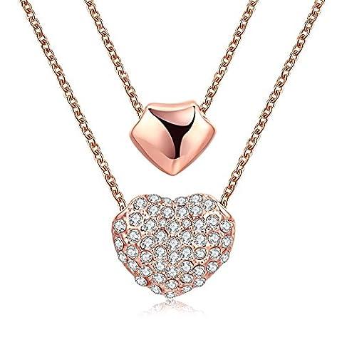 Fjyouria pour femme Or rose 18ct double cœur Pendentif Collier avec cristaux décoré Cadeau idéal
