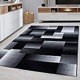 Designer Teppich Kariert in Marmor Optik Meliert Grau Schwarz Weiss Preishammer (80 x 150 cm)