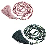 CrystalTears 108 Perlen Edelstein Yoga Armband Wickelarmband Om mani Padme hum Buddha Gebetskette Healing Reiki Stein Mala Kette Halskette mit Quaste (Lava Stein)