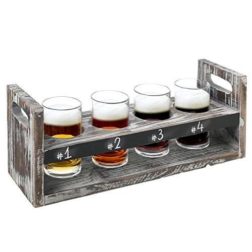 Rustikal Torched Holz 5PC Craft Bier Flight Weinprobe Servier-Set mit 4Gläser & Tafel Vintage Pilsner Set