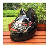 Motorradhelm Männer Und Frauen Racing Persönlichkeit Vier Jahreszeiten Schutzhelm Katze Ohr Helm,Black,M