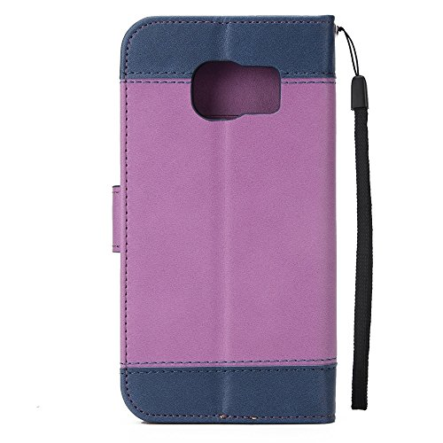 EKINHUI Case Cover Dual Color Matching Premium PU Leder Flip Stand Case Cover mit Card Cash Slots und Lanyard für Samsung Galaxy S7 ( Color : Blue ) Purple