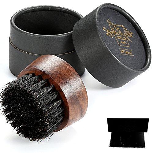 Bartbürste mit Wildschweinborsten, Walnussholz, Rundes Design