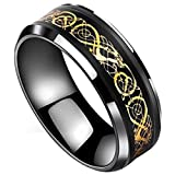 Best Men's Wedding Bands - Peora Black Tungsten Carbide Dragon Celtic Dragon Gold Review