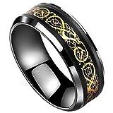 Peora Black Tungsten Carbide Dragon Celtic Dragon Gold Carbon Fibre Wedding Band Ring