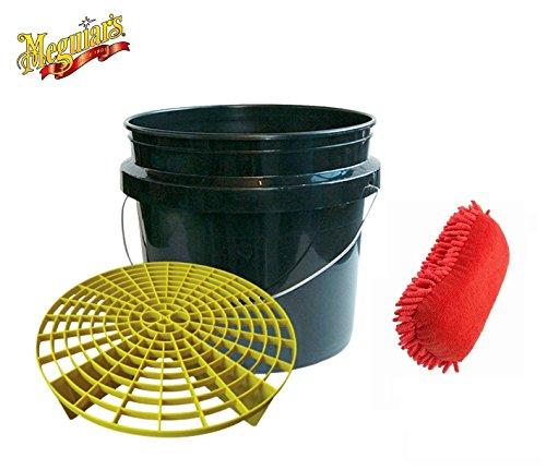 praktisches-meguiars-autowasche-set-wascheimer-eimer-grit-guard-13-l-inkl-einsatz-maxi-auto-schwamm