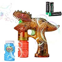 Shinehalo Pistola de Burbuja Transparente con Luces LED, Efecto de Sonido, 3 baterías y Repuesto Adicional de Botella (Colorido)