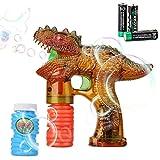 Shinehalo Dinosauro Pistola a Bolla Pistola Bubble Shooter Gun con luci a LED per Bambini e Party, batterie e Ricarica Extra di Bottiglie per Esterni e Interno