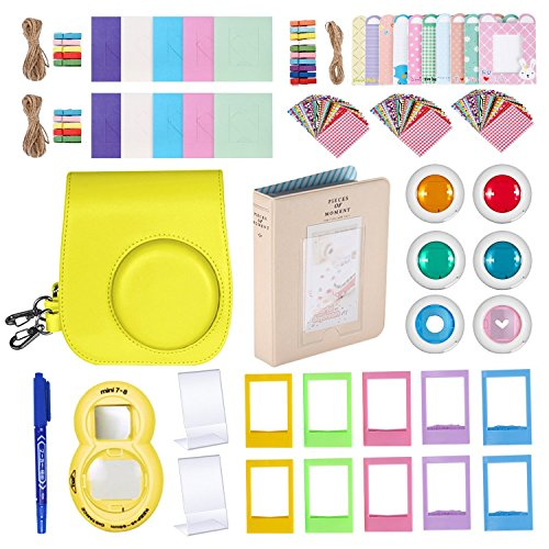 Followsun 20-in-1 kit di accessori per fotocamera istantanea per fujifilm instax mini 8/8 +/9: custodia per fotocamera giallo, album, obiettivo selfie, 6 filtri colorati, cornici, adesivi, pennarello