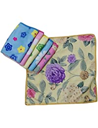 Collection Of Multicolor Flower Printed Valvet Touch Handkerchiefs for Women Set of 6 Piece 100% Valvet with Premium Quality Material Size 29*29 Cm