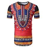 Goldatila Männer Ethnische Afrikanischen Print Sommer Casual O Neck Pullover Kurzarm Shirt