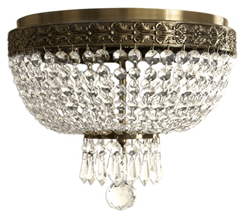 Royal Designs Clear K9 Quality Crystal Ceiling Flush Mount, 2 Lights, Antique Brass (FM-5001AB) by