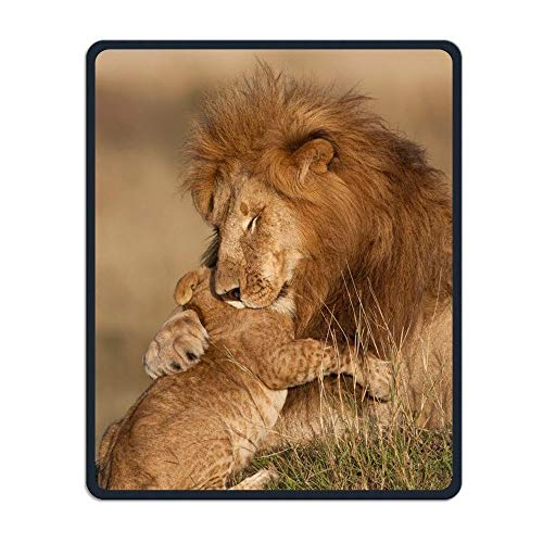 Mouse Pad Lion Father and Son Print Rectangle Non-Slip Rubber Mousepads for Computer, Laptop Stitched Edges Gaming Mouse Pad Keyboard Wrist Rests
