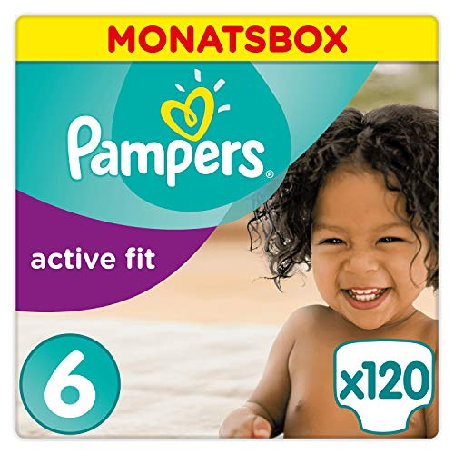 Pampers Premium Protection Active Fit Windeln, Größe 6 Extra Large 15+kg Monatsbox, 120 Windeln