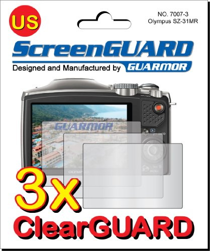 Guarmor Displayschutzfolien (für Olympus SZ-31 MR HIS Kameras, passgenau) transparent, 3 Stück Screen Protector Guard Film