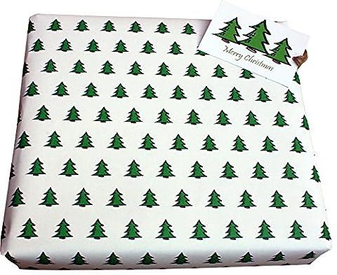 Re-wrapped–O Arbre de Noël Blanc–1feuille (plié) avec 2assorti Swing étiquettes de papier cadeau papier cadeau recyclé respectueux–par Designer britannique Tracy