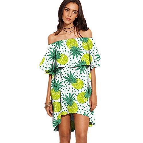JOTHIN Damen Druck Retro Strandkleid Boho Reizvolle Schulterfrei Sommerkleid Kurzarm Minikleid 10
