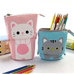 Lienzo de dibujos animados lindo gato telescópico bolso de la bolsa de lápiz papelería Pen caso caja con cierre de cremallera (blue)