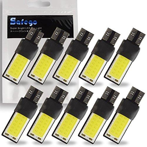 Safego 10x T10 W5W 192 158 LED Lampadine 194 168 Luci Per Auto COB 6500K 12V 3W Bianca Lampada di Ricambio