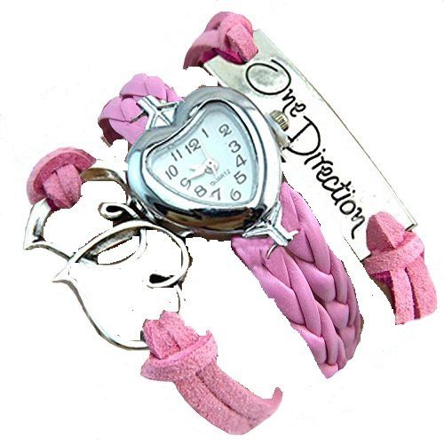 GirlZ! Women's Day Special 2015 One Direction multilayer leather Heart bracelet with watch - Pink