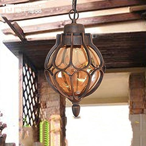 Injuicy Luminaires Vintage Retro Industriel E27 Edison Suspensions en Métal et Verre Abat-jour Lustre Imperméable de Plein Air Plafonniers Antique Eclairage de Plafond Extérieur pour Jardin Balcon Cour Terrasse et Patio (Diamètre 230mm)