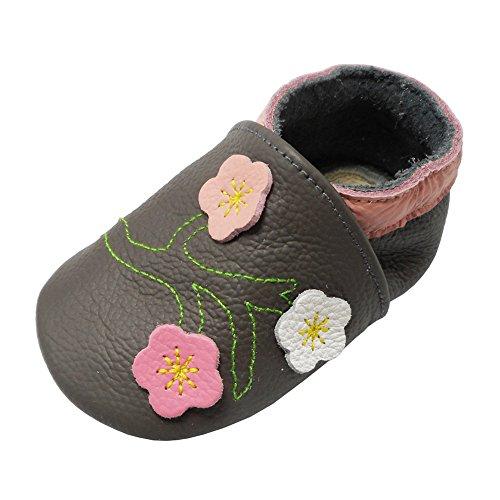 YALION Baby Mädchen Weiches Leder Lederpuschen Kleinkinder Krabbelschuhe mit Süßen Blumen Dunkelgrau,6-12 Monate