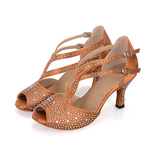 Fluores donna balli latino-americani raso sandali sneaker tacchi prestazioni con diamantini nastro traforato tacco a rocchetto nero marrone brown us6 / eu36 / uk4 / cn36