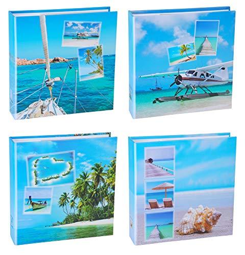 WELLGRO 4er Set Einsteckalbum Beaches - für insgesamt 800 Fotos 10x15-22,5 x 23 cm (HxB)