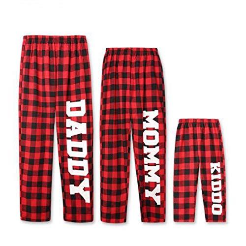Zhhlinyuan Navidad Pantalones de Pijamas Iguales de Familiar Transpirable Suave algodón Rojo a Cuadros, Papá Mamá Kiddo Patrón Imprime Pijamas Pantalones para papá Mamá Niño