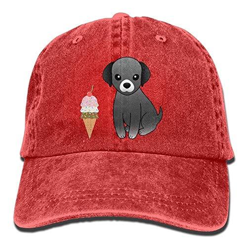 (GHEDPO Ice Cream Dog Denim Baseball Caps Hat Adjustable Cotton Sport Strap Cap for Men Women)