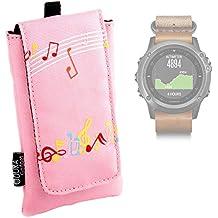 DURAGADGET Funda Acolchada Rosa Para Smartwatch Garmin Fénix 3 / HR / Leather / Nylon / Titanium - Diseño Con Notas Musicales - ¡Resistente Al Agua! - Alta Calidad