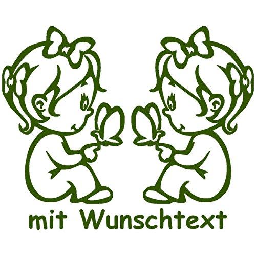 Preisvergleich Produktbild XL Babyaufkleber für Zwillinge mit Wunschtext - Motiv Z13-MM (25 cm)