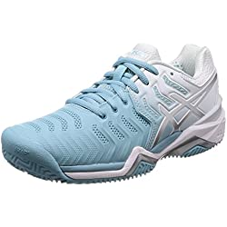Asics Gel-Resolution 7 Clay, Zapatillas de Tenis para Mujer, (Porcelain Blue/Silver/White 1493), 41.5 EU