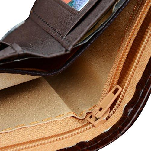 Mens purse-All4you synthetisches Leder Geldbörse mit Geld Taschen Credit ID Cards Holder Geldbörse (braun) Braun