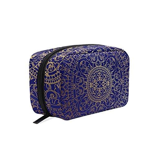tizorax Oriental blau und gold Hippie Mandala Praktische Kosmetik Tasche Kupplung Make-up-Tasche Organizer Reisetasche